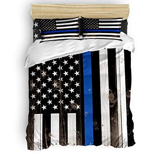Duvet Cover Set Printed 4 Pcs Bedding Set Twin Size Include Duvet Cover, Bed Sheet, Pillow Shams Thin Blue Line Police, Honor Law Enforcement USA Vintage Flag Soft Quilt Sets for Children/Adults
