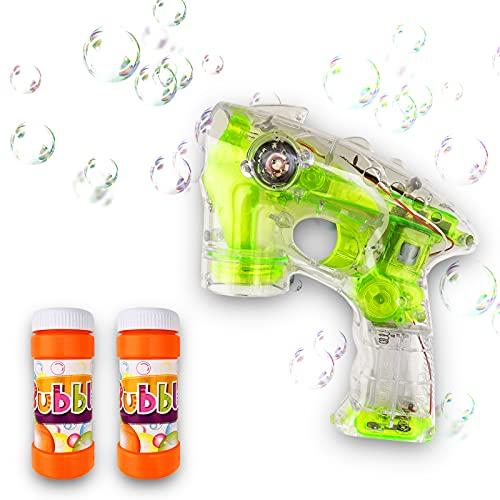 BOHAICO Pistola de Pompas de Jabón. Máquina para Hacer Burbujas de Jabón. Juegos de Verano Divertidos. Bubble Gun con Luz y Sonido. Burbujas Jabonosas. Bubble Fun.