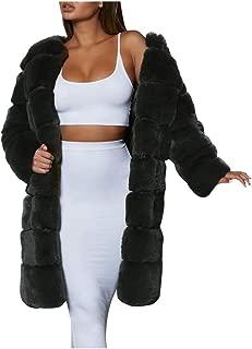 QIQIU Womens Faux Fur Furry Plus Size Thick Winter Warm Long Sleeve Elegant Long Outerwear Coat