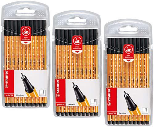 Fineliner - STABILO point 88 - 3x 10er Pack - schwarz