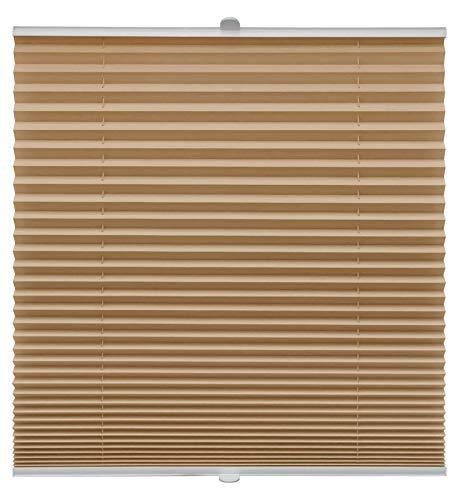 Plissee auf Maß verschiedene Farben alle Fenster Montage Glasleiste Blickdicht mit Spannschuh Sonnenschutzrollo Fensterrollo Plissee Cappuccino Breite: 51-60 cm, Höhe: 151-200 cm