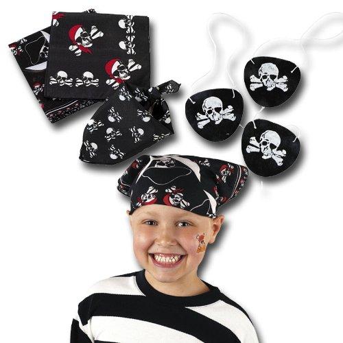 cama24com Piraten Bandana Kopftuch & Augenklappen je 12 Stück Palandi®