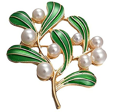 Topdo 1Pcs Exquisite Brooch Vintage Pearl Tree Leaf Brooch Pin Elegant Corsage Women Brooch Clip Scarves Shawl Collars Clip Charm Breastpin Decorations Jewelry Clothing Accessories
