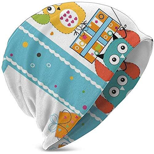 GodYo Kids zachte Slouchy Beanie Baggy Skull hoed, eerste cake kaars uilen familie met box party thema's, unisex teeen verschillende gebreide mutsen stijlen