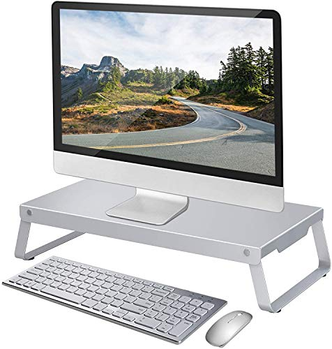 Mounting Dream Aluminum Monitor Stand Riser with Cable Management and Storage Organizer for Desk, Sturdy Ergonomic Metal Computer Monitor Riser for Printer, iMac, Laptop, Up to 20kg, MD5301-03