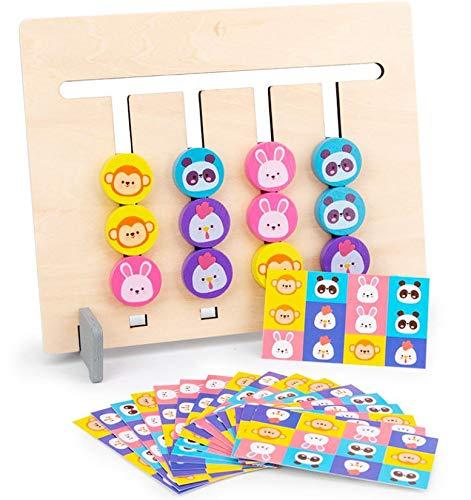 Ms.0 スライドパズル 知育玩具 脳トレ モンテソーリ教具 子供 木のおもちゃ (動物カラー)