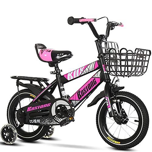 Bicicleta para NiñOs Ajustables con Ruedas De Entrenamiento, AleacióN De Acero Al Carbono, Frenos Duales, para NiñOs Y NiñAs Mayores De 3 AñOs Ciclismo Al Aire Libre