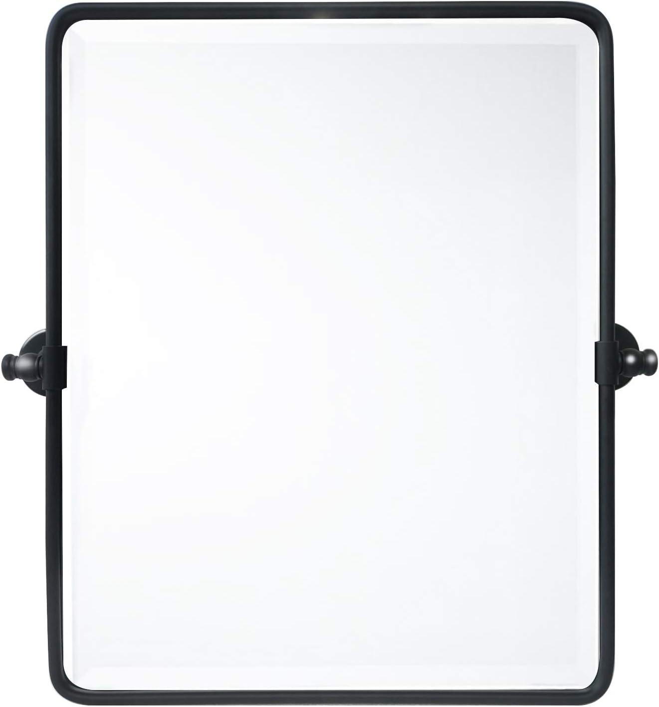 20 x 24 '' Farmhouse Black Metal Framed Pivot Rectangle Bathroom Mirror Rounded Rectangluar Tilting Beveled Vanity Mirrors for Wall Décor