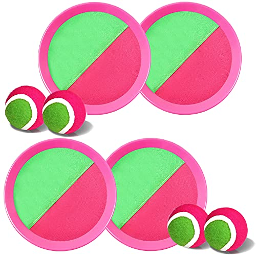 Ball Catch Set Game Toss Paddle - Beach Toys Back Yard Outdoor Games Lawn Backyard Target Throw Catch Sticky Mitts Set Age 3 4 5 6 7 8 9 10 11 12 Years Old Boys Girls Kids Easter Gifts (Pink 2 Pack)