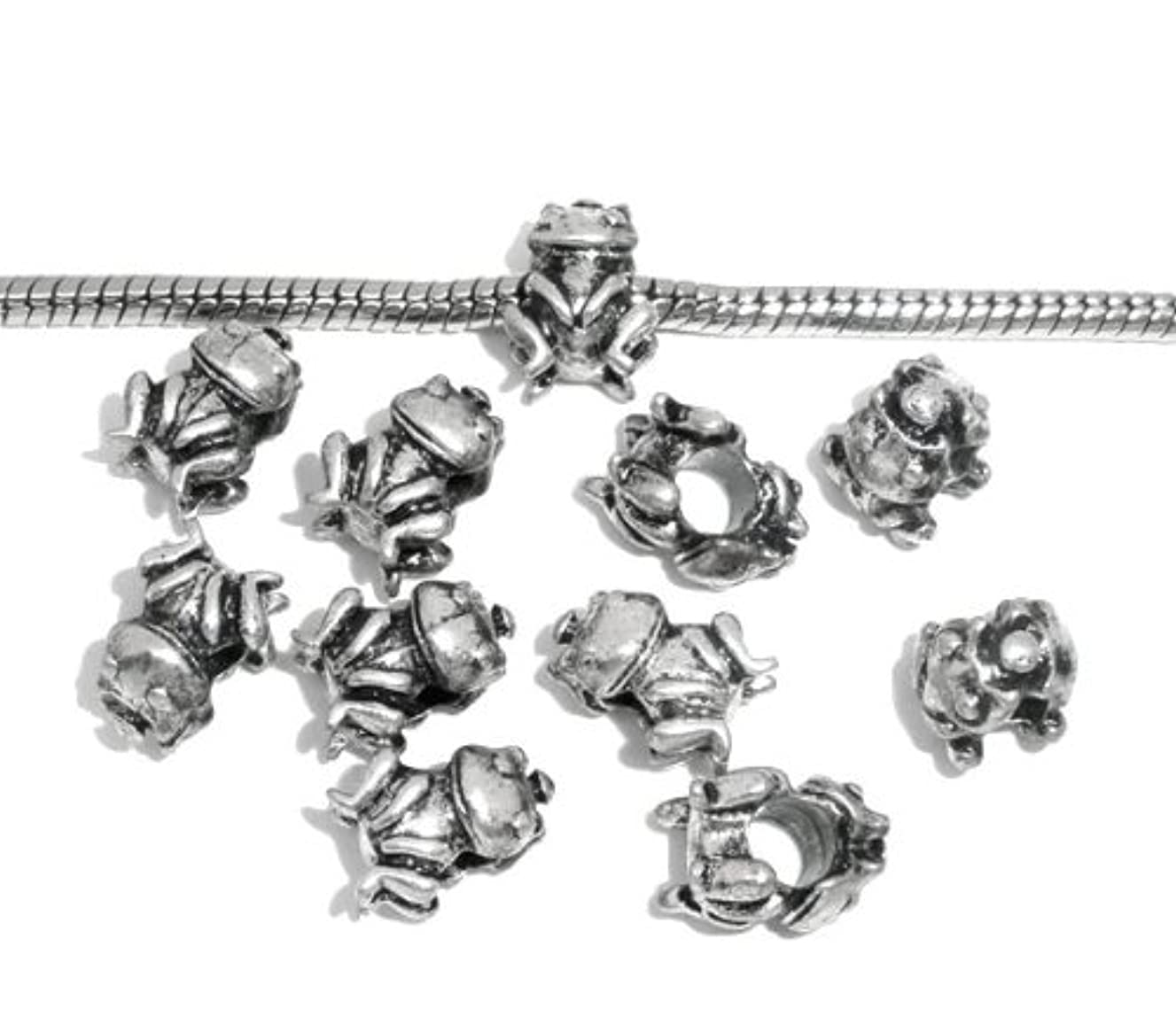 PEPPERLONELY Brand 3PC Antique Silver Frog Charm Beads Fit European Bracelet 1/2 x 5/16 Inch ( 12MM x 8MM )