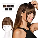 HMD Clip in Bangs 100% Human Hair Extensions Light Brown Clip on Fringe Bangs with nice net Natural Flat neat Bangs with Temples for women One Piece Hairpiece for Daily Wear(ColorLight Brown)