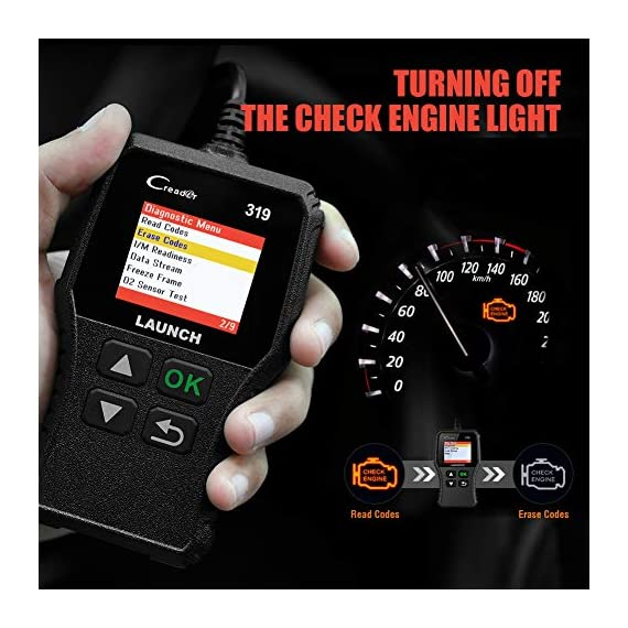 LAUNCH OBD2 Scanner CR319 Check Engine Code Reader with Full OBD2 Functions, Car Engine Fault Code Reader CAN Scan Tool… 5 【CHECK ENGINE LIGHT OBD2 SCANNER】The obd2 scanner CR319 full obd2 function scanner can fast read and clear trouble codes, check emission-related monitors, accurately pinpoint the problems of your vehicle, turn off the MIL (Malfunction Indicator Lamp), and reset the monitors. It enables you to fix the issues yourself, or enlighten you about what might happen before bringing in for repairing. Save your money! Save your time! OVER 200,0000 DIYER 's First Choice !!! 【READ AND CLEAR CODES READER】The lowest price obd2 scanner with full obd2 function scanner, including Read and erase code (Generic, Manufacturer Specific, and Pending Codes) and show code definitions, I/M Readiness, live date, Freeze Frame, Vehicle Information, O2 Sensors, EVAP, On-Board Monitor Test (Mode 6), Component Test, etc,which can help you find the hidden problems and simplify diagnosis, resolve the reasons which light up the engine light, and present you the status of the car engine. 【ONE-CLICK I/M READINESS & DTC LOOKUP】The code reader is equipped with One-Click I/M readiness, which makes it more efficient to check the emission state and readiness so as to have a clear idea about vehicle health status. To assist you in passing the emission test easily, the OBD2 code reader would make sure the monitors are all set. The built-in DTC library with a database of over 3000 code definitions, automatically displayed after reading. Read the definitions, solve the problems.
