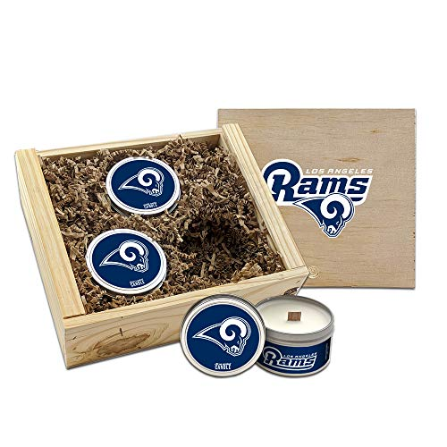 Worthy Promo LA Rams Gifts Scented Candles Gift Set in Handcrafted Wood Box NFL Officially Licensed