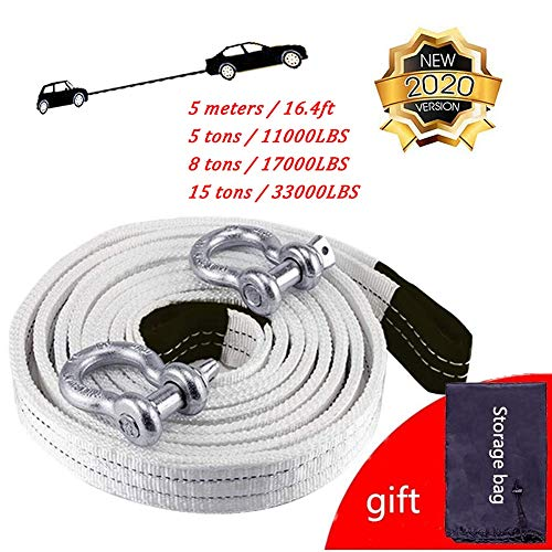 New Gjjtcd 5m/16.4ft Car Tow Rope Tow Cable Car Towing Cable Snatch Strap Pull Rope Heavy Duty Road Truck Pulling Rope(Color: White 5 tons / 8 tons / 15 tons) (Size : 8 tons/17000LBS)