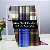 Tartan Check Plaid S Mix Set 10 Toalla de Mano Beauty Fashion, Toalla de Viaje, Toalla de baño, 40 X 70 cm - Toallas Multiusos para baño, Manos, Cara, Gimnasio y SPA