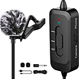 Lavalier Microphone, Rechargeable Omnidirectional Clip On Lapel Mic with LED Indicator for Recording, Interview, Vlogging,Camera, DSLR, Smartphone, Laptop - with Noise Cancellation