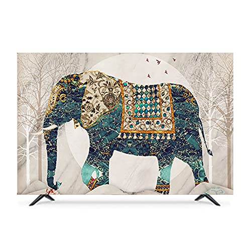 QYQS TV Cubiertas Al Aire de Polvo Polvo, 3D Elefante Animal Tridimensional, Compatible con Varios Modelos, Admitimos Personalización(Size:65in/W151CMxH92CM)
