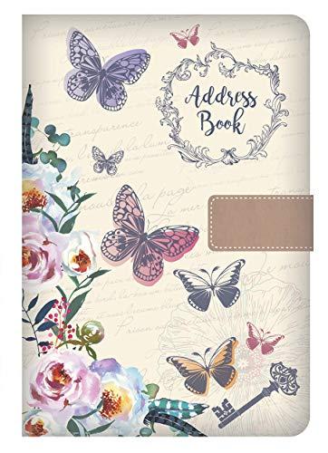 Libreta de direcciones de teléfono A-Z Índice de la A a la Z, cubierta de tela vintage A5 libreta de direcciones (mariposa)
