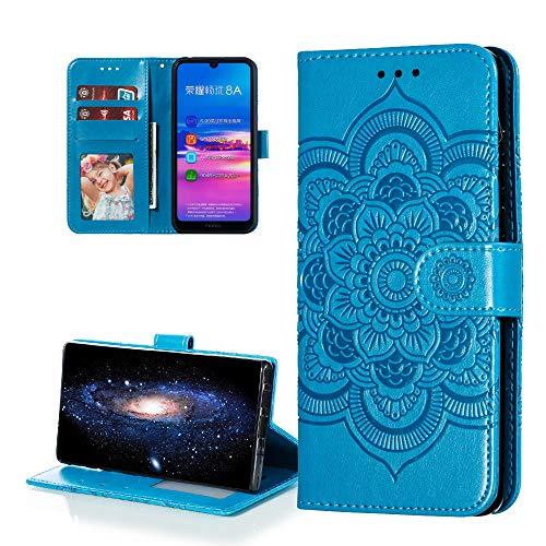 COTDINFOR Etui für Huawei Y6 2019 Hülle PU Leder Cover Schutzhülle Magnet Tasche Flip Handytasche im Bookstyle Stand Kartenfächer Lederhülle für Huawei Honor 8A / Y6 2019 Blue Mandala LD.