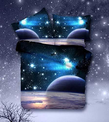 Raaooaceo® Juego de Cama 3D Azul fantasía Universo Galaxia Cielo Estrellado Juego de Cama de Pareja de Lujo con Colcha King Size 3D Edredones de algodón + 2 Fundas de Almohada 50 X 75 cm Tamaño gigan