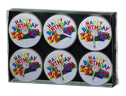 Smart Planet Kerzen Ambiente – 6 Stück Teelichter Happy Birthday - Teelicht Set – Geburtstagskerze – Kerze Geburtstag