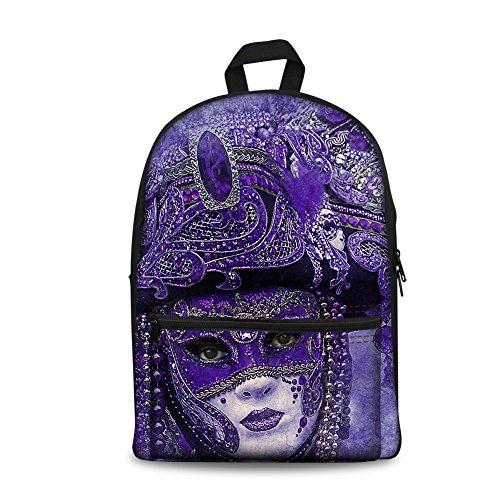 Herrn Maskiertes Mädchen Canvas Rucksack Fashion Leinwand Rucksack Bedruckten Rucksack Teenager Rucksack Daypack für Outdoor Camping CC14 ONE Size