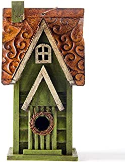 """Glitzhome Tall Green Hand Painted Wood Birdhouse, 11.93"""""""