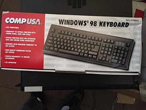 CompUSA Windows 98 Black Keyboard - PS/2 Connector - SKU #238853 - Tactile