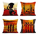 ArtSocket Set of 4 Linen Throw Pillow Covers Oil Painting African Art Ethnic Tribe Lady Livingroom Lips Decorative Pillow Cases Home Decor Square 18x18 inches Pillowcases