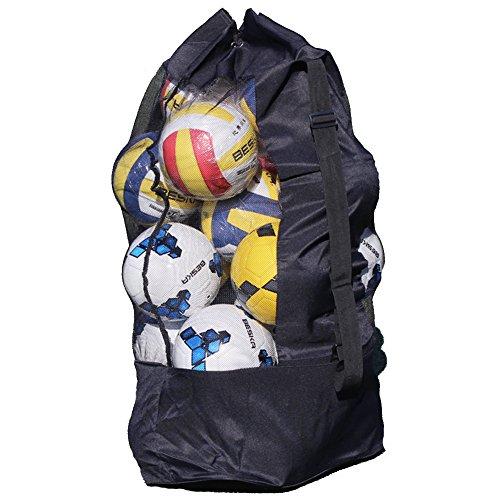 YJZQ Ballsack Große Balltasche Fußball Meshbag für 10-15 Bälle Mehrzweck Sport Netztasche mit Kordelzug und Schultergurt Wasserdicht Ballnetz für Volleyball Handball und Fußball Schwarz