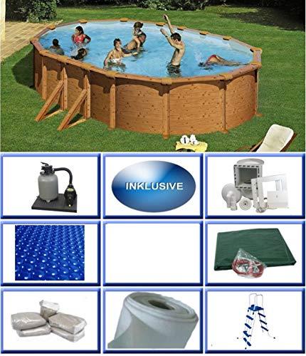 Summer Fun Stahlwandbecken Set Grandy Holzoptik oval 3,75m x 6,10m x 1,32m Folie 0,4mm All Inklusive Set Pool Ovalpool / 375 x 610 x 132 cm Stahlwandpool