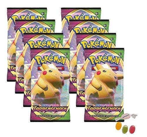 Pokemon Schwert & Schild - Farbenschock - 10 Booster - Deutsch zusätzlich 1 x Sticker-und-co Fruchtmix Bonbon