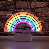 Mobestech 1 señal de luz arcoíris de dibujos animados funciona con pilas, luz de neón decorativa para dormitorio de los niños, lámpara de mesita de noche para habitación de bebé (base angular).