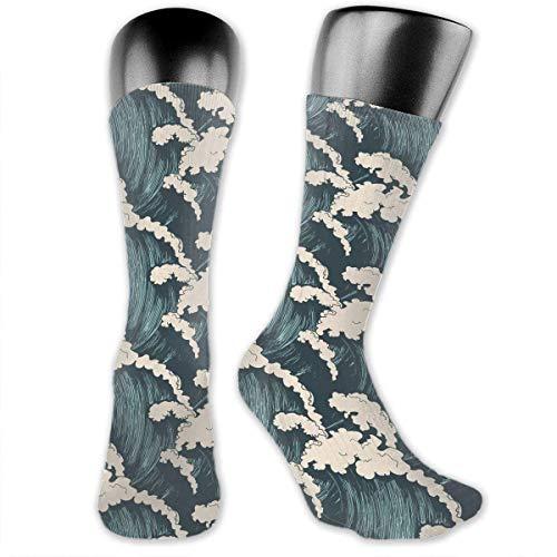 Drempad Luxury Calcetines de Deporte Ocean Waves Pattern Socks For Men Or Women, All-Season Sports Workout Training Mid Calf Crew Socks