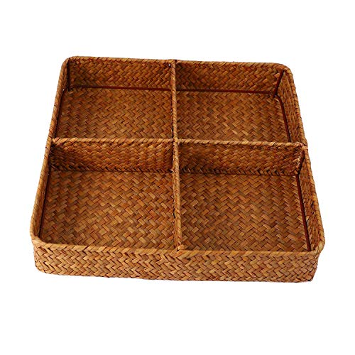Gesh Cesta de almacenamiento de paja para sala de estar, escritorio, caja de almacenamiento para cosméticos, té y frutas