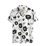 Camisas para Hombres, Camisa Casual Elegante de Estilo Nacional para Hombres con Estampado Floral, Manga Corta, Transpirable, sin decoloración, Camisetas Sueltas para Hombres