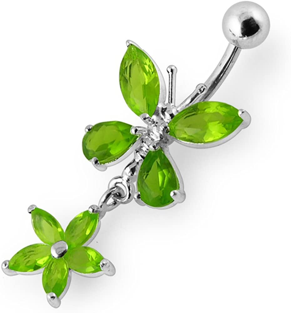Jeweled Butterfly with Flower Dangling 925 Sterling Belly Popular brand in Ranking TOP10 the world Silver
