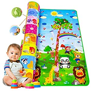 Tucute Baby Play Mat - Large Baby Waterproof Soft Cushion Floor Mat for Crawl Gym Activity Playing Double Side… 9 51NUjJF aDL. SS300
