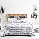GEFEII White Stripe Cotton Duvet Cover Set Queen Bohemian 3 Pieces Comforter Set 90'x90' with Zipper Closure Soft Breathable Full Bedding Set (White-Arrow, Full/Queen (Duvet Cover 90'x90'))