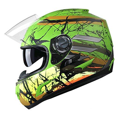 GLX Unisex-Adult GX15 Lightweight Full Face Motorcycle Street Bike Helmet with Internal Sun Visor DOT Approved (Skull, X-Large)