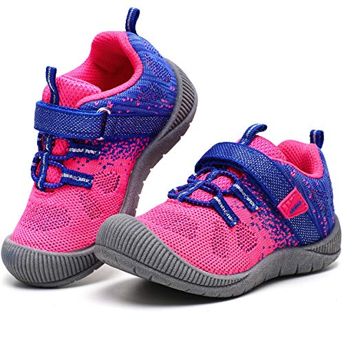 okilol Toddler Girl Shoes Baby Kids Sneakers Athletic Sport Tennis Running Shoes Royal Blue/Fushia 8 M US Toddler