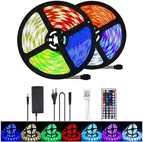 LETION 10M LED Streifen, LED Strip 10M 300LEDs RGB SMD 5050 Farbwechsel mit 44 Tasten Fernbedienung, IP65 Wasserdicht 12V Leistung Dekoration für Küchen Hochzeit Party Garten Haus Terrassen(33FT)