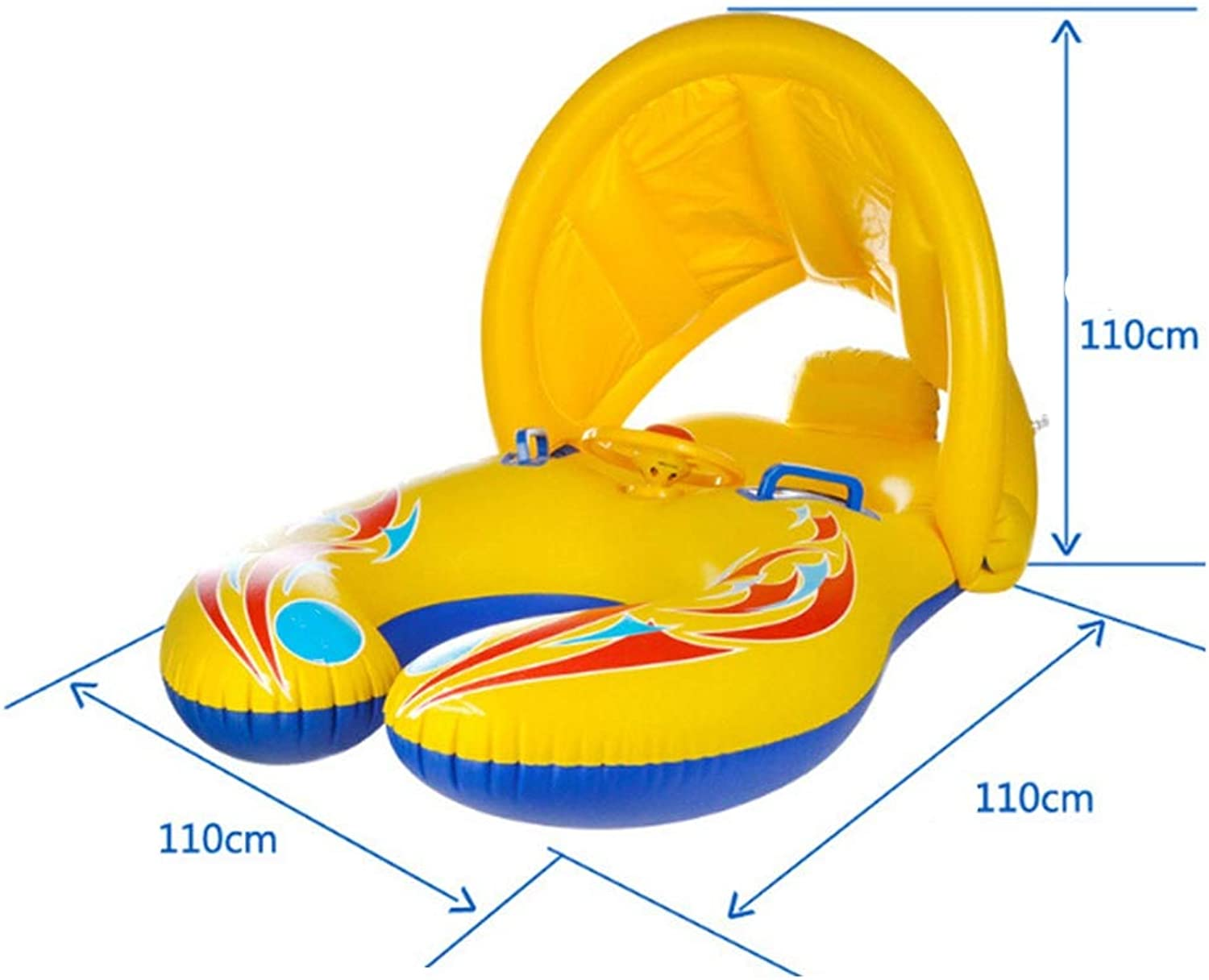 LIJIE Summer Mother and Baby Swim Float with Removable Safety Inflatable Sunshade Canopy, Beach Pool Water Double Person Swimming Ring toy for Kids