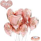 JWTOYZ Folienballon Hochzeit Herz Rosegold, 27 Stück Luftballons Hochzeit Rosegold Ballons für Geburtstag Valentinstag Brautdusche