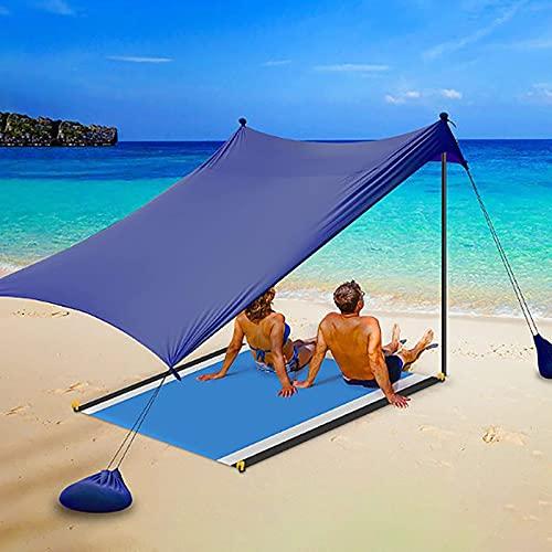 NXX Schnellaufbau 3-4/5-8 Personen Strandmuschel Uv Schutz Familien Baby Strandzelt Sonnenschirm Die Beste Option FüR AusflüGe Tragbar Blau,S(210 * 210cm)