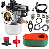 YHLFOOZ 591137 Carburetor+795066 Air Filter for Briggs and Stratton 591137 590948 775EX Lawn Mower Engine Carb 795066 796254 with Air Filter,Fuel line,Fuel Shut Off Valve