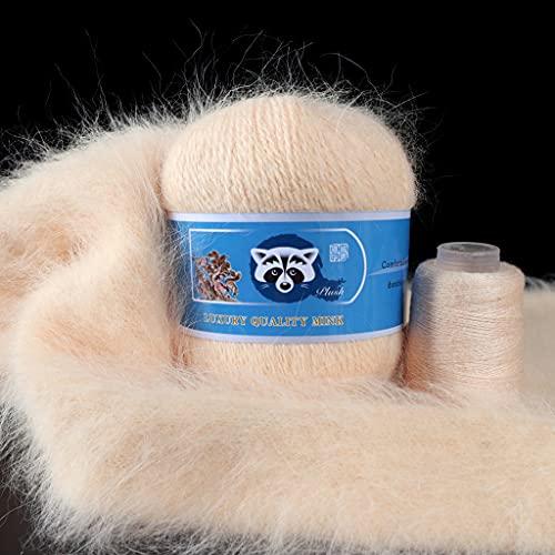FOLODA 2 ovillos de lana de peluche largo de visón natural, agujas de tejer de lana, hilo peinado, hilo hecho a mano, material de costura, 50 g + 20 g de hilo de algodón