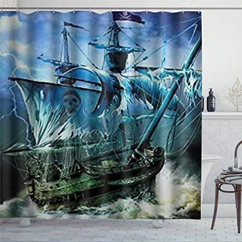 EricauBird Cortina de ducha náutica vintage vela pirata barco cortina de ducha con anillos tela de poliéster cortinas de ducha con ganchos baño decoración