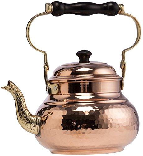 DEMMEX 1mm Thick Solid Hammered Copper Handmade Tea Pot Kettle Stovetop Teapot, 1.5Qts