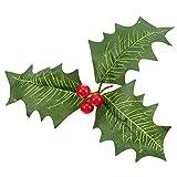 Pangda 10 Pezzi Artificiale Agrifoglio Bacca Verde Foglie Rosso Bacche per Natale Disposizione Mestiere Matrimonio Festa Decorazioni